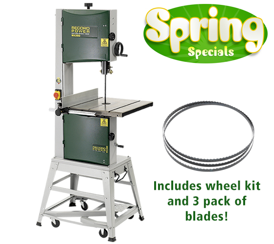 Record Power BS350S 14 Bandsaw, Wheel Kit and 3 Pack of Blades Package