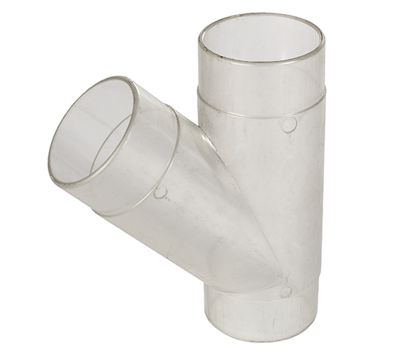 CVA250-50-104 2.5 Inch Clear Plastic Y Fitting