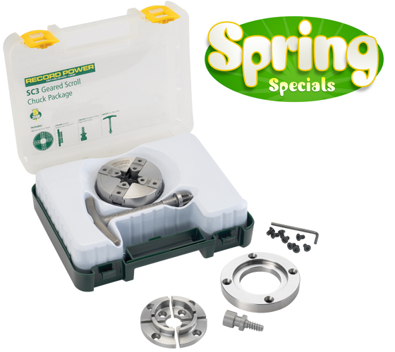 SC3-34-16 SC3 Geared Scroll Chuck Package with 3