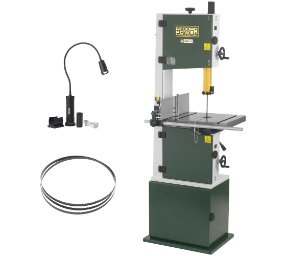 """SABRE-350 14"""" Bandsaw, 3-Pack of Blades and Magnetic LED Work Lamp Package"""