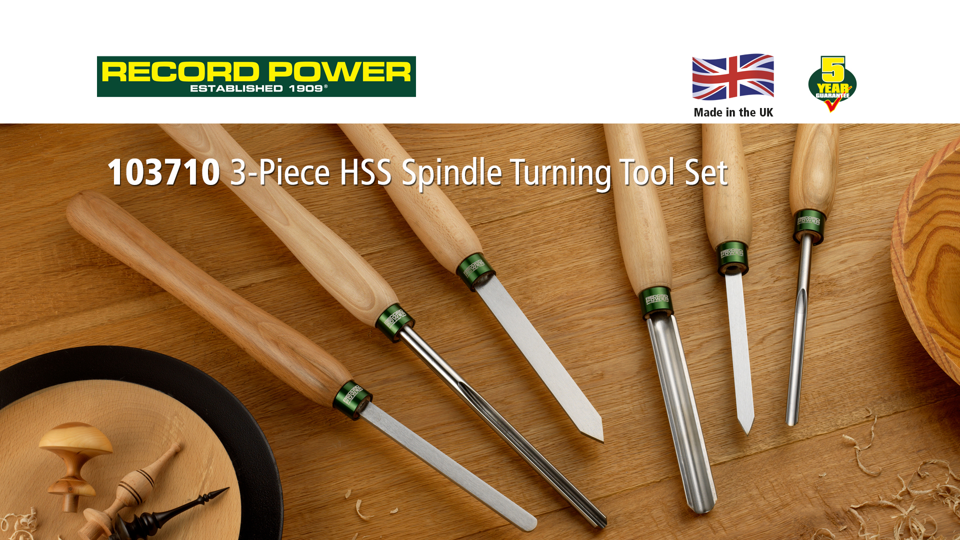 Record Power 103710 3-Piece HSS Spindle Turning Tool Set